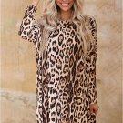 Long Sleeve Leopard Asymmetric Hemline Mini Dress