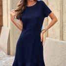 Blue Tassel Ruffle Short Sleeve Mini Dress