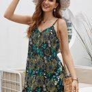 Black Floral Pattern Buttoned Slip Cami Dress