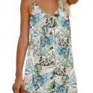 Sky Blue Floral Pattern Buttoned Slip Cami Dress