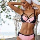 Pink Color Block Strappy Bikini Swimsuit