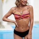 Multicolor Twisted Bust Striped Bikini Set