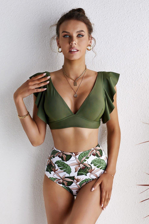 Green Floral Ruffled Hem High Waist Bikini Set