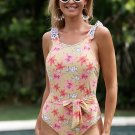 Yellow One Piece Floral Printing Swimsuit