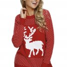 Snowy Day Reindeer Red Christmas Sweater
