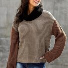 Khaki Long Sleeve Turtleneck Knit Sweater