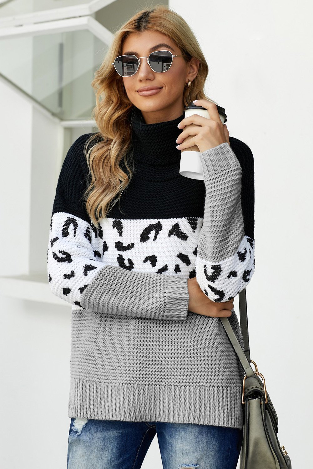 Black Turtleneck Splicing Chunky Knit Pullover Sweater