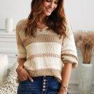 Khaki V Neck Knitted Lantern Sleeve Pullover Sweater