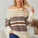 Brown Loose Openwork Round Neck Sweater