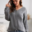 Gray V Neck Lace Up Knitted Sweater