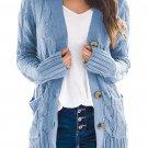 Sky Blue Button Pocket Knit Cardigan
