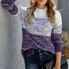 Purple Colorblock Knit Pullover Sweater
