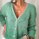 Green V Shaped Neckline Buttoned Knit Sweater