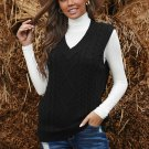 Black Sleeveless Cable Knitted Sweater Tank