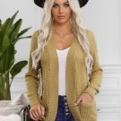 Khaki Pocket Knitted Solid Color Cardigan