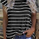 Stripe Black Leopard Printed Open Back T Shirt