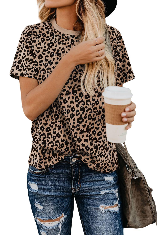Crew Neck Leopard Print Basic T Shirt