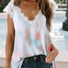 White Lace Splicing V Neck Short Sleeve Tie Dye Top