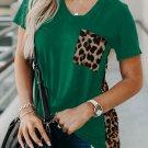 Green Leopard Printed Splicing T Shirt
