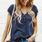 Blue Buttoned Detail Cotton Blend Short Sleeve T Shirt