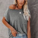 Gray Pocketed Tee with Side Slits