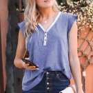 V Neck Buttoned Lace Trim Short Sleeve Tee
