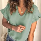 Green V Neck Ruffle Short Sleeve T Shirt
