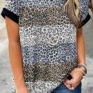 Brown Leopard Striped Colorblock T Shirt
