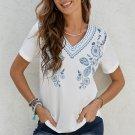 Blue Floral Embroidery V Neck Short Sleeve Top