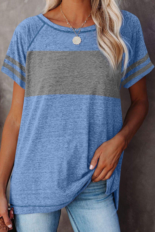 Blue Stripe Sleeve Colorblock T Shirt