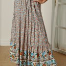 Multicolor Floral Print Elastic High Waist Pleated A Line Maxi Skirt