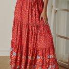 Red Floral Print Elastic High Waist Pleated A Line Maxi Skirt