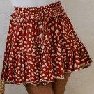 Red Printed Ruffled Hem A-Line Mini Skirt