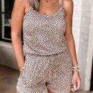 Brown Leopard Sleeveless Elastic Waist Pocket Romper