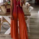Red Gradient Color Spaghetti V Neck Wide Leg Jumpsuit