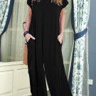 Black Solid Color Short Sleeve Wide Leg Jumpsuit with Pocket