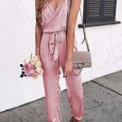 Pink Solid Spaghetti Straps V Neck Wrap Jumpsuit