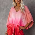Pink Pocketed Ombre Kimono Romper