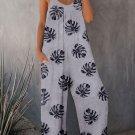 Gray Palm Leaves Print Spaghetti Strap Wide Leg jumpsuit