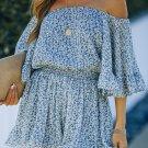 Blue Off Shoulder Bell Sleeves Floral Romper
