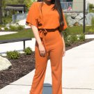 Brown Oh So Glam Belted Wide Leg Jumpsuit