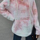 V Neck Tie Dye Plush Pullover Hoodie