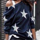 Fashion Five-pointed Star Print Round Neck Blue Sweatshirt