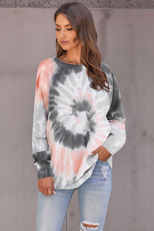 Gray Ombre Tie Dye Loose Leisure Sweatshirt