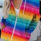 Multicolor Tie-Dyed Zipper Pocket Drawstring Hooded Jacket