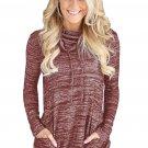 Heather Red Cozy Cowl Neck Drawstring Sweatshirt