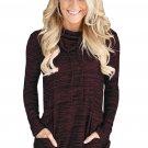 Heather Burgundy Cozy Cowl Neck Drawstring Sweatshirt