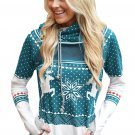 Mint Snow Reindeer Double Hooded Sweatshirt