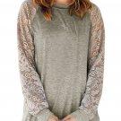 Lace Raglan Sleeve Grey Casual Sweatshirt