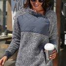 Grey Fleece Asymmetrical Snap Pullover